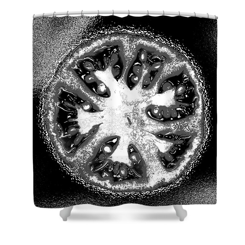 Tomato Shower Curtain featuring the photograph Black And White Tomato by Nancy Mueller