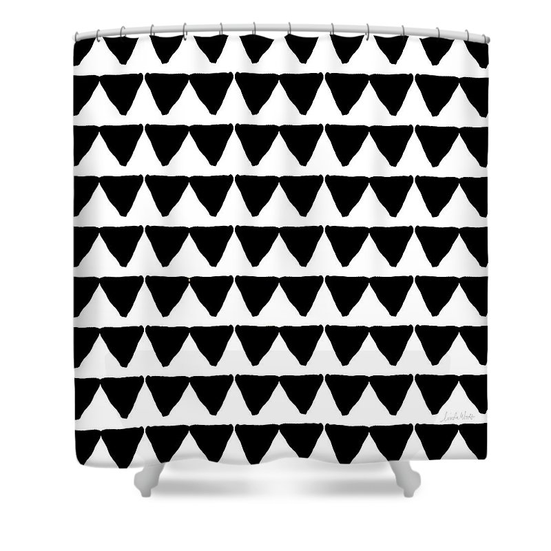 Triangles Shower Curtain featuring the mixed media Black And White Triangles- Art By Linda Woods by Linda Woods