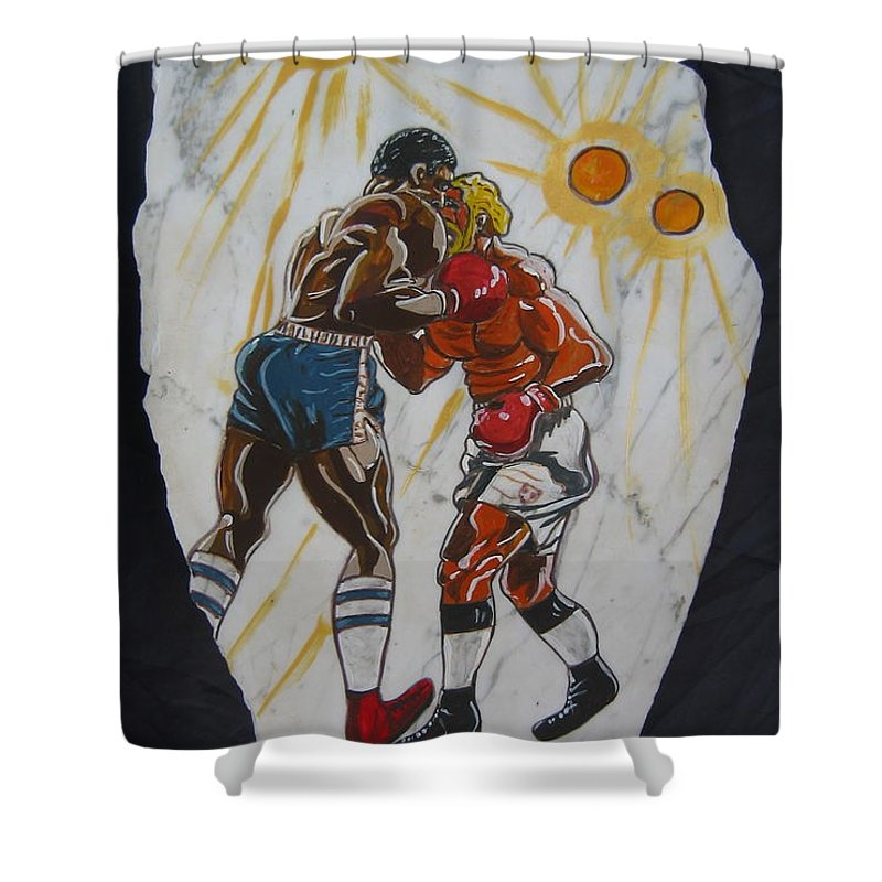 Boxing Shower Curtain featuring the mixed media Black And White by V Boge