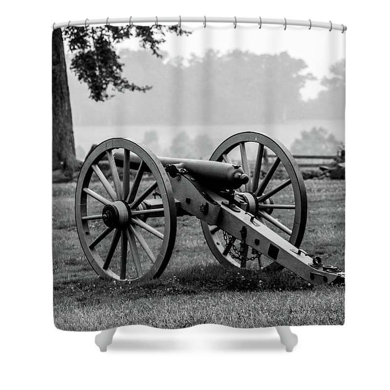 This Is A Black And White Photo From The Angle At The Gettysburg Battlefield Shower Curtain featuring the photograph Black And White View Of The Angle by William Rogers