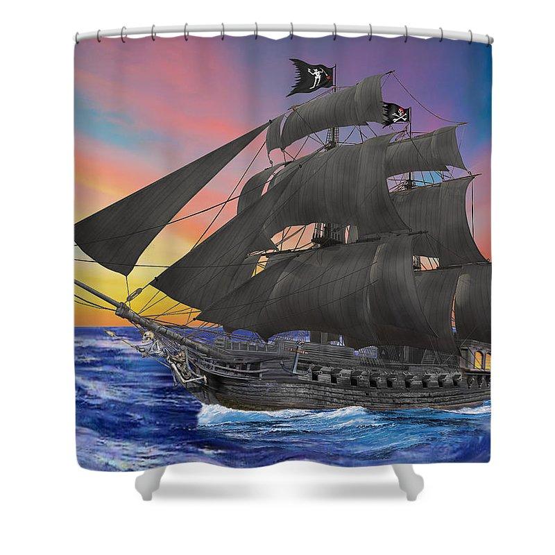 Lack Beard Shower Curtain Featuring The Digital Art Black Beards Pirate Ship By Glenn Holbrook