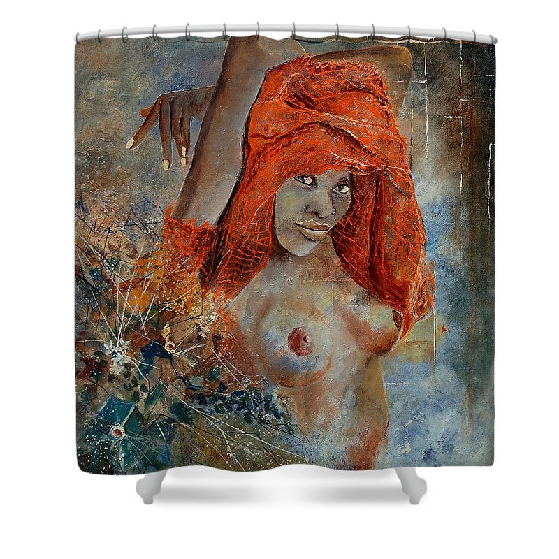 Nude Shower Curtain featuring the painting Black Beauty by Pol Ledent