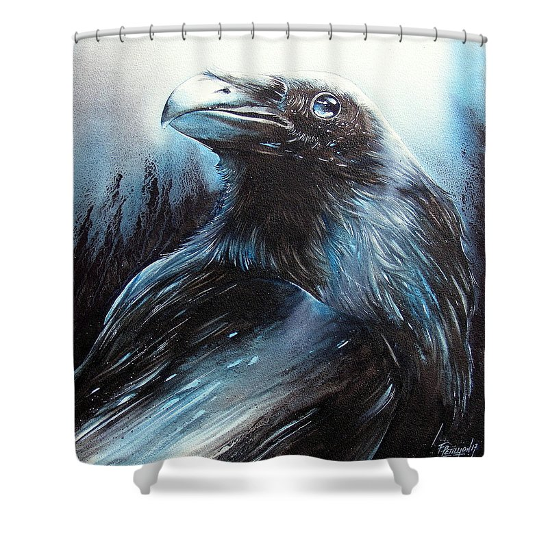 Watercolor Shower Curtain featuring the painting Black Bird by Fabien Petillion