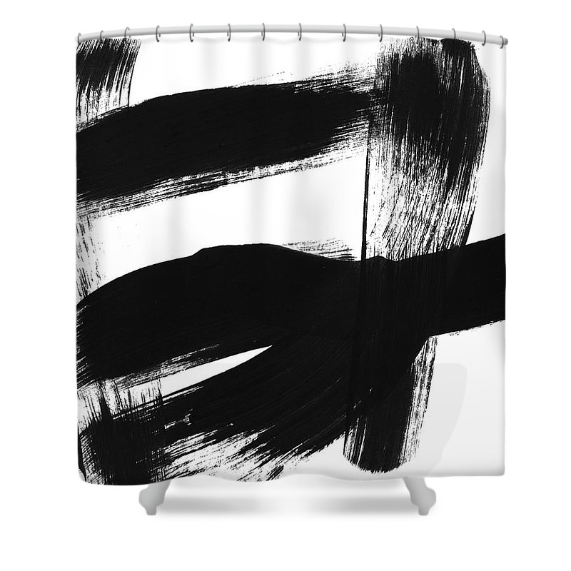Abstract Shower Curtain featuring the painting Black Brushstroke 3- Art By Linda Woods by Linda Woods