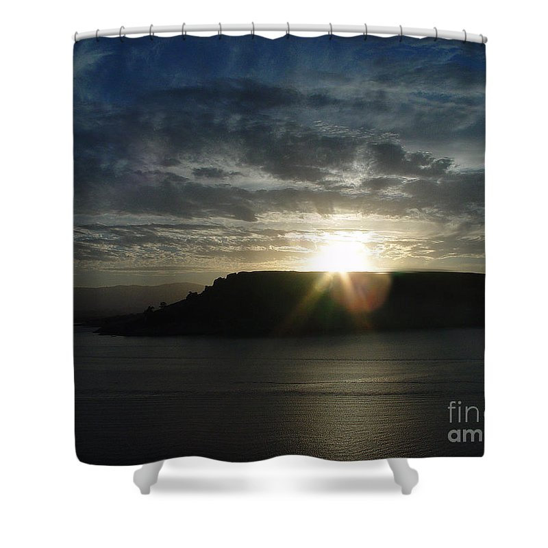 Black Butte Lake Shower Curtain featuring the photograph Black Butte Sunrise by Peter Piatt