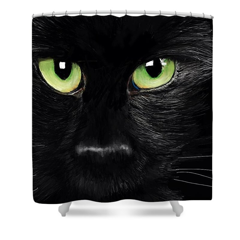 Cat Black Feline Lucky Unlucky Witch Halloween Domestic Pet Kitty Pussy Kitten Shower Curtain featuring the digital art Black Cat by Lincoln Howes