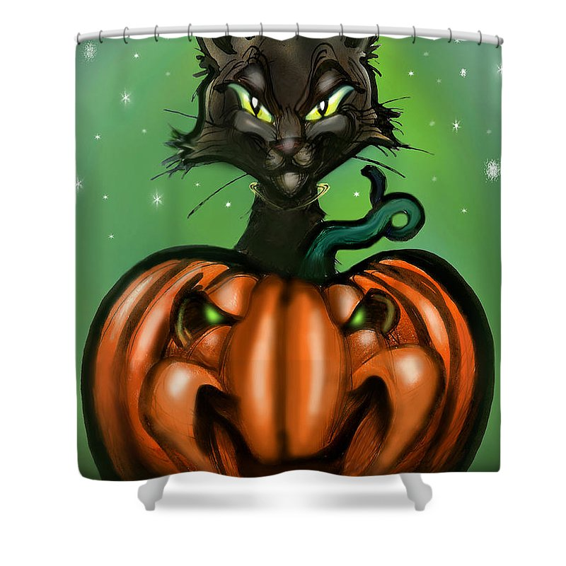 Halloween Shower Curtain featuring the greeting card Black Cat N Pumpkin by Kevin Middleton