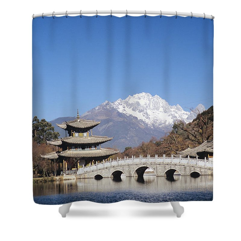 Architecture Shower Curtain featuring the photograph Black Dragon Pool Park by Gloria & Richard Maschmeyer - Printscapes