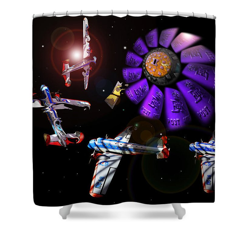 Scifi Shower Curtain featuring the digital art Black Dwarf by Charles Stuart