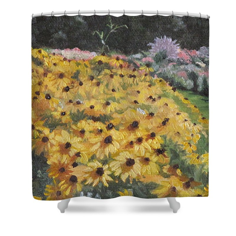 Floral Shower Curtain featuring the painting Black-eyed Susans by Lea Novak