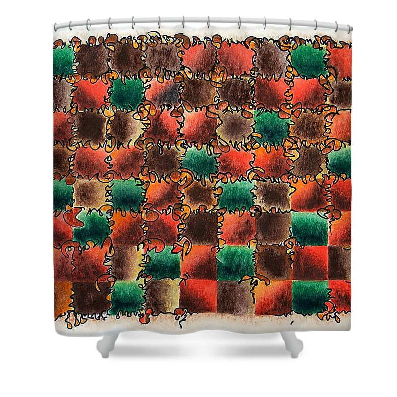 Abstract Shower Curtain featuring the painting Black Forest Cake by Dave Martsolf