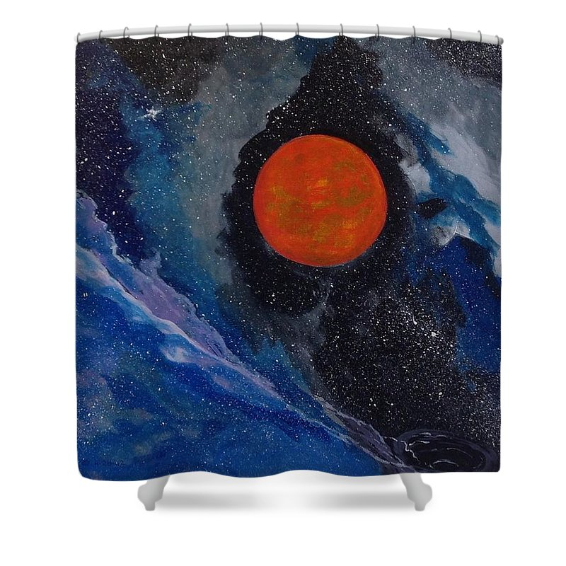 Black Holes; Space; Gas Balls Shower Curtain featuring the painting Black Hole by Cypriano