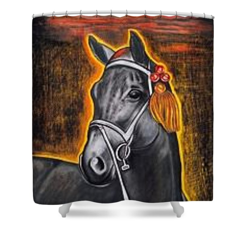 Horse Shower Curtain featuring the painting Black Horse by Isabell Von Piotrowski