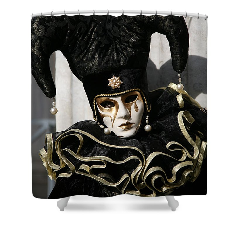 Black Shower Curtain featuring the photograph Black Jester by Donna Corless