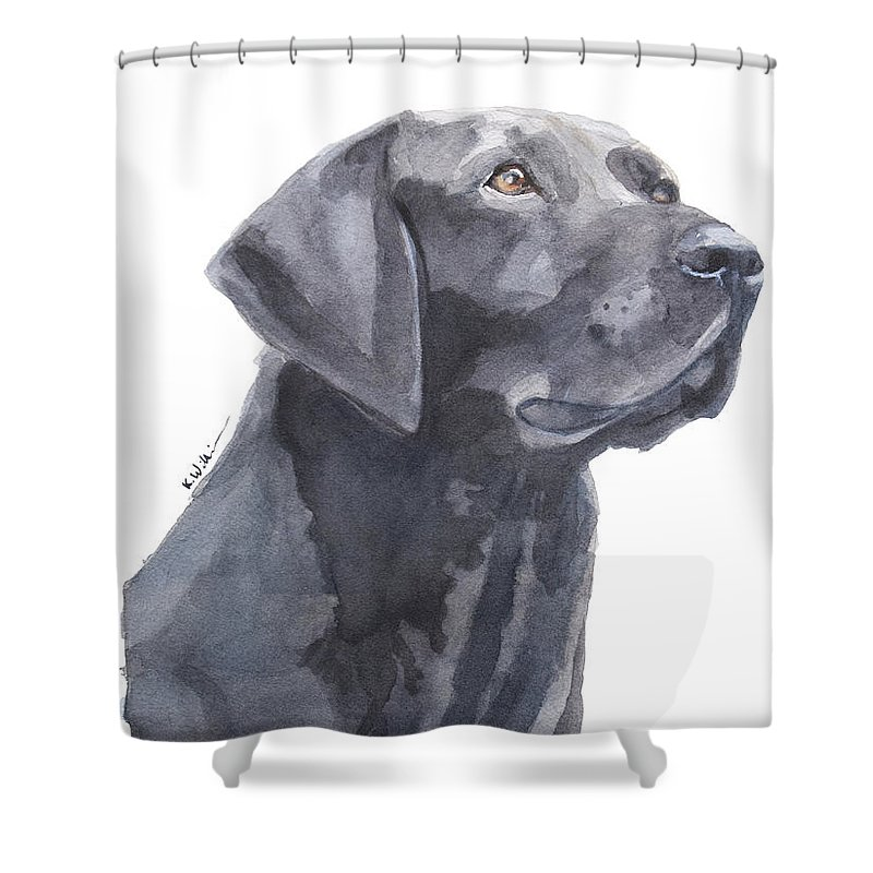 Black Lab Shower Curtain featuring the painting Black Lab by Kelly Williamson