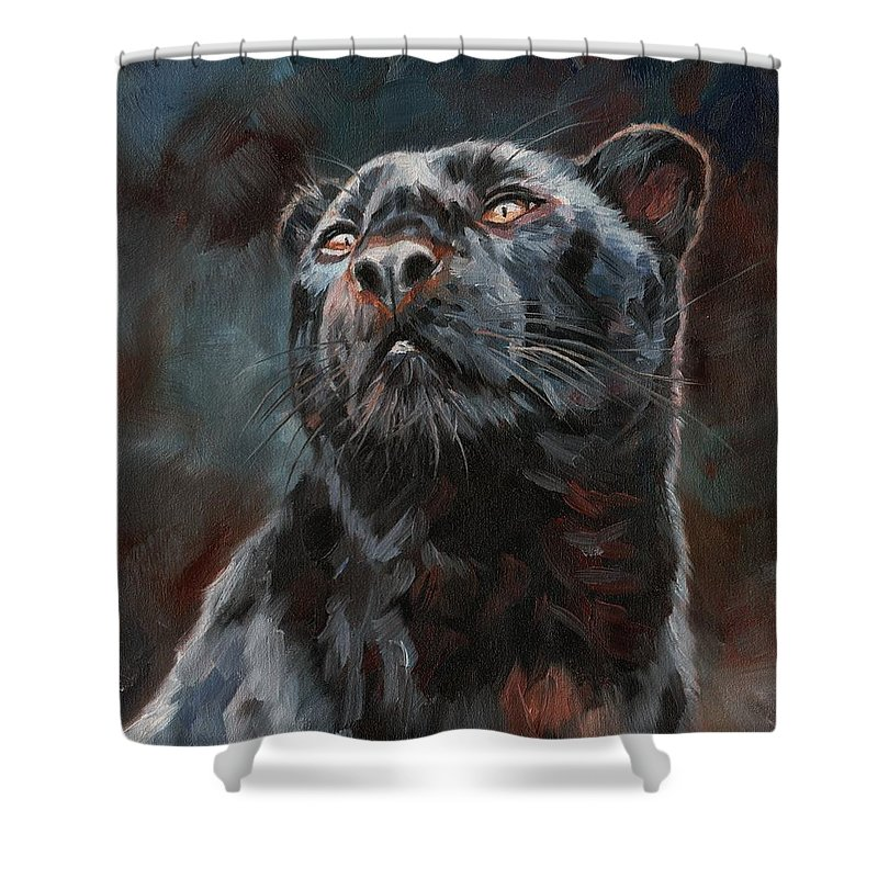 Black Shower Curtain featuring the painting Black Leopard by David Stribbling