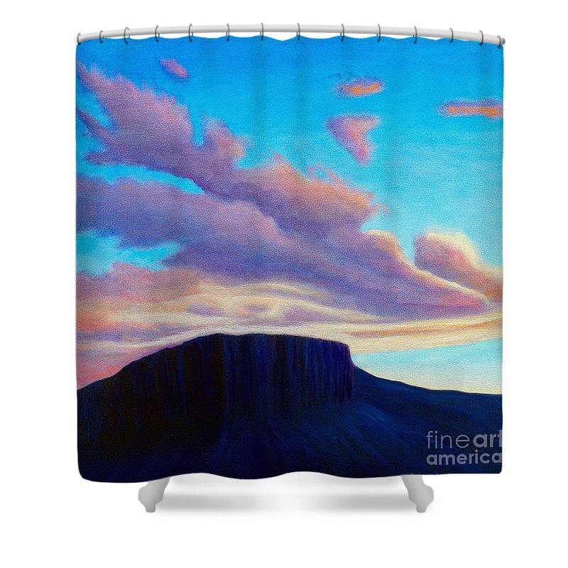 Landscape Shower Curtain featuring the painting Black Mesa Sunset by Brian Commerford
