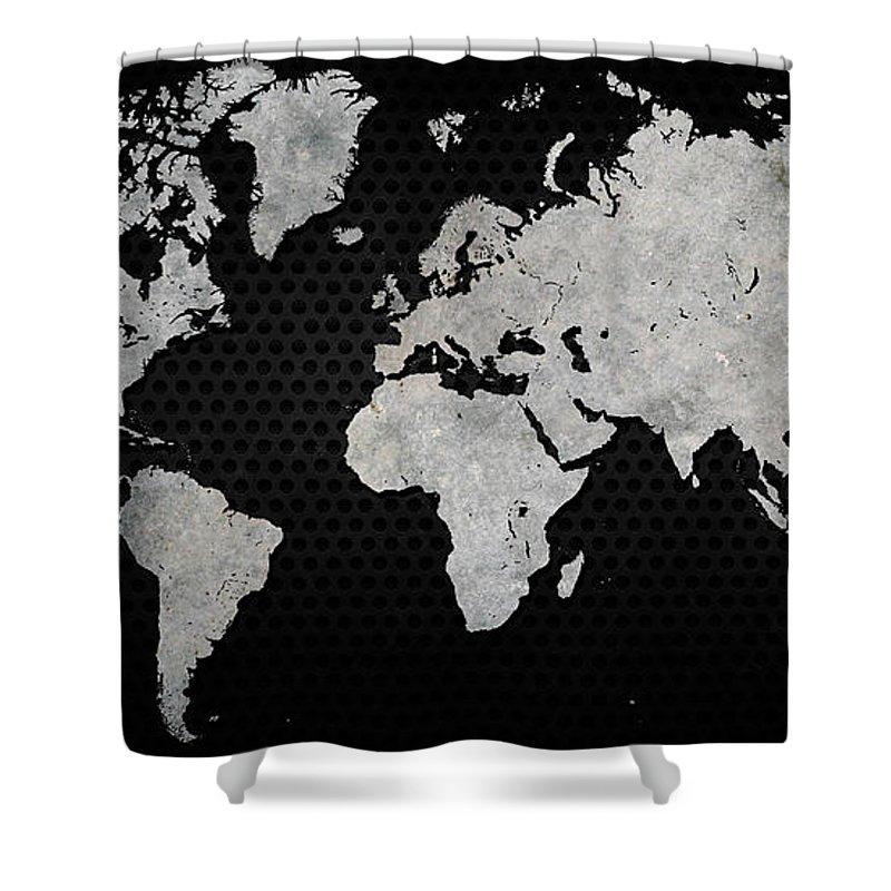 Black Shower Curtain featuring the digital art Black Metal Industrial World Map by Douglas Pittman