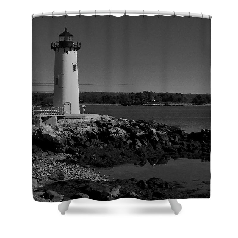 Portsmouth Harbor Lighthouse Shower Curtain featuring the photograph Black N White-portsmouth Harbor Lighthouse by Nancie DeMellia