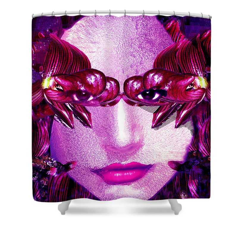 Oriental Shower Curtain featuring the digital art Black Orchid Eyes by Seth Weaver