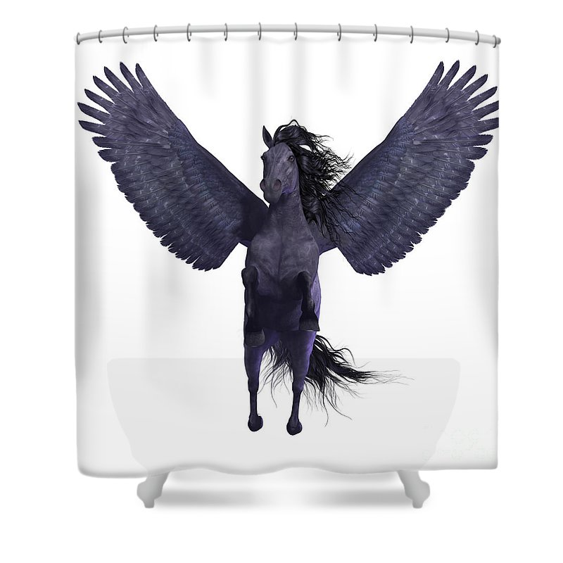 Pegasus Shower Curtain featuring the painting Black Pegasus On White by Corey Ford