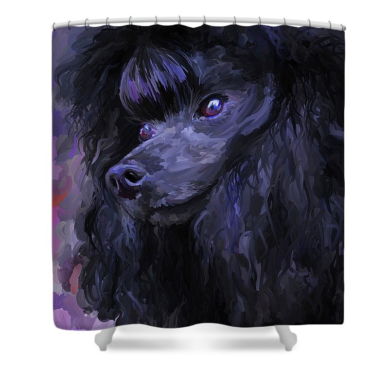 Black Shower Curtain Featuring The Painting Poodle By Jai Johnson