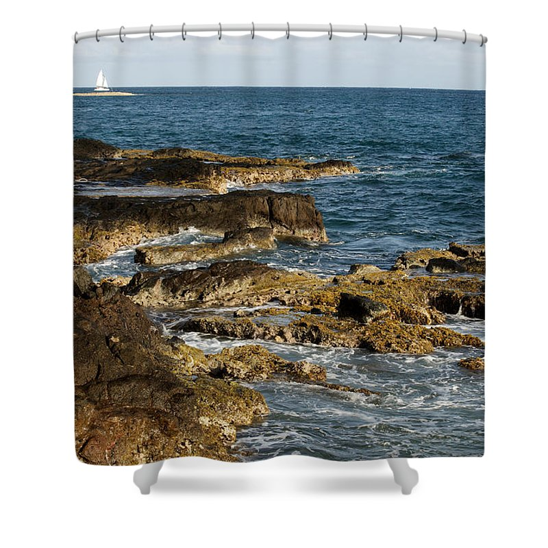 Sailboat Shower Curtain featuring the photograph Black Rock Point And Sailboat by Jean Macaluso