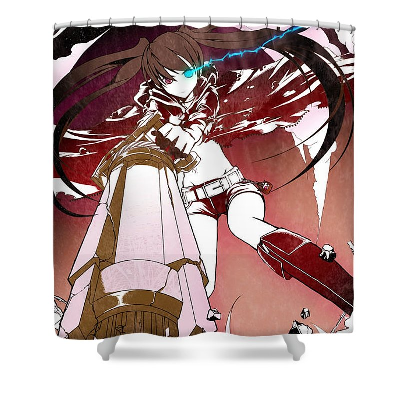 Black Rock Shooter Shower Curtain featuring the digital art Black Rock Shooter by Zia Low