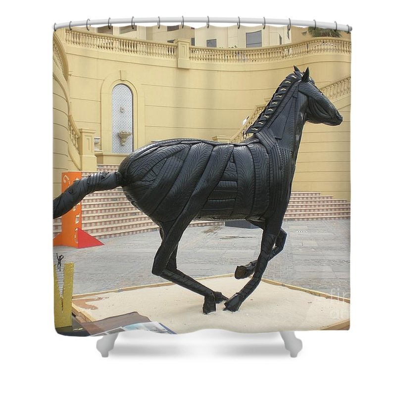 Horse Shower Curtain featuring the sculpture Black Stalion Tyre Sculpture by Mo Siakkou-Flodin