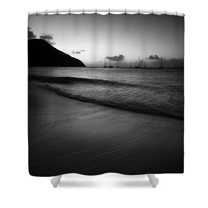 St Lucia Shower Curtain featuring the photograph Black Sunset by Timothy Needham