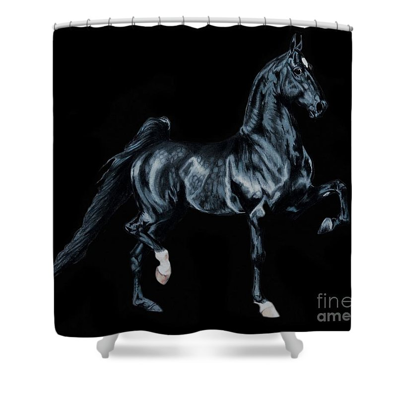 Horse Art Shower Curtain featuring the painting Black Tie Affair Featuring Saddlebred Champion Undulata's Made In Heaven by Cheryl Poland