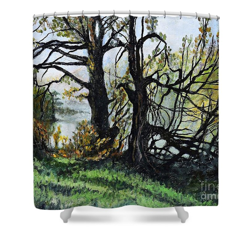 Village Shower Curtain featuring the painting Black Trees Entanglement by Suzann Sines