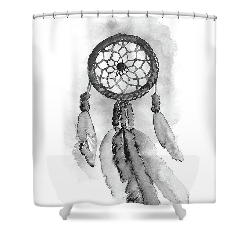 Drawing Illustration Shower Curtain Featuring The Painting Dreamcatcher Watercolor Black White Dream Catcher