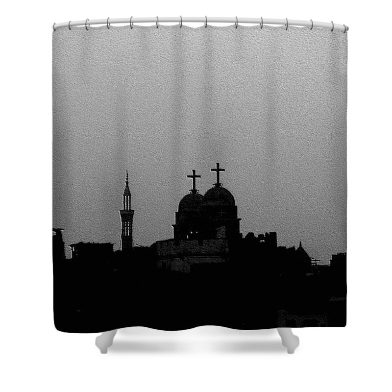 Nile Shower Curtain featuring the photograph Black White Symbiosis by Dragica Micki Fortuna