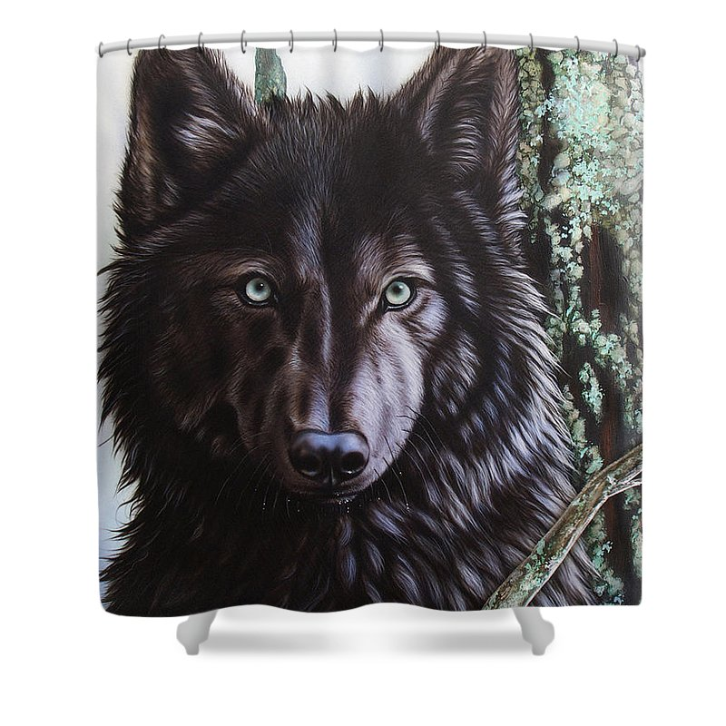 Wolves Shower Curtain featuring the painting Black Wolf by Sandi Baker