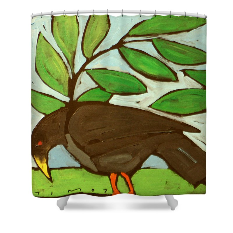 Bird Shower Curtain featuring the painting Blackbird by Tim Nyberg