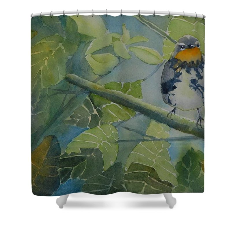 Bird Shower Curtain featuring the painting Blackburnian Warbler I by Ruth Kamenev