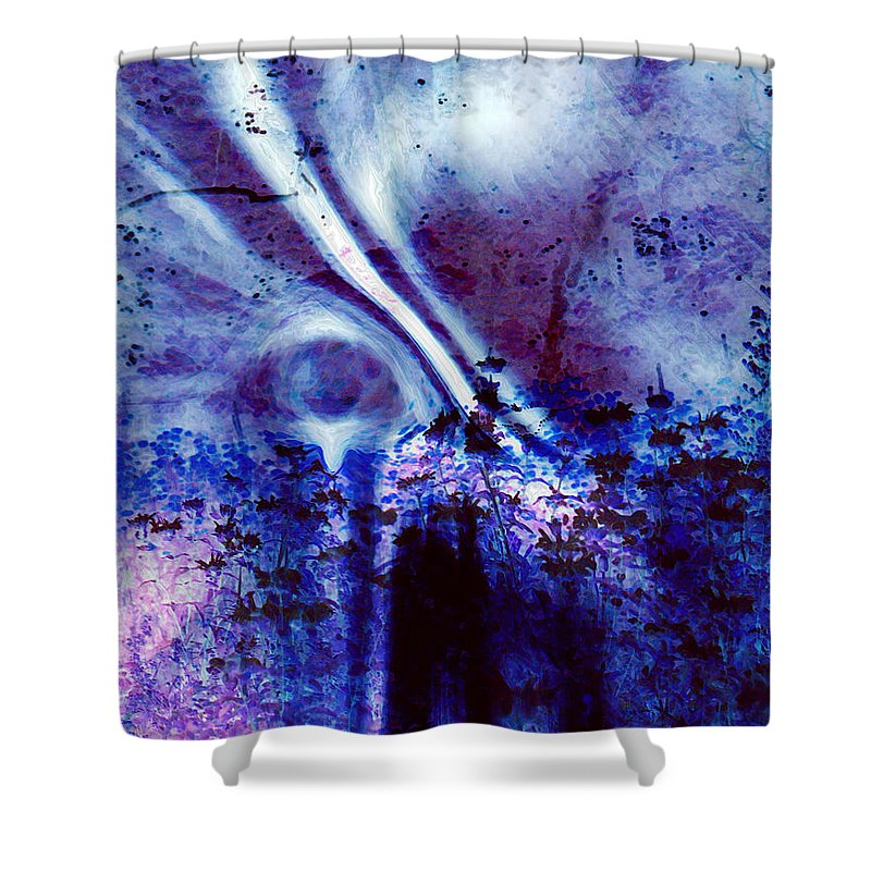 Abstracts Shower Curtain featuring the digital art Blackest Eyes by Linda Sannuti