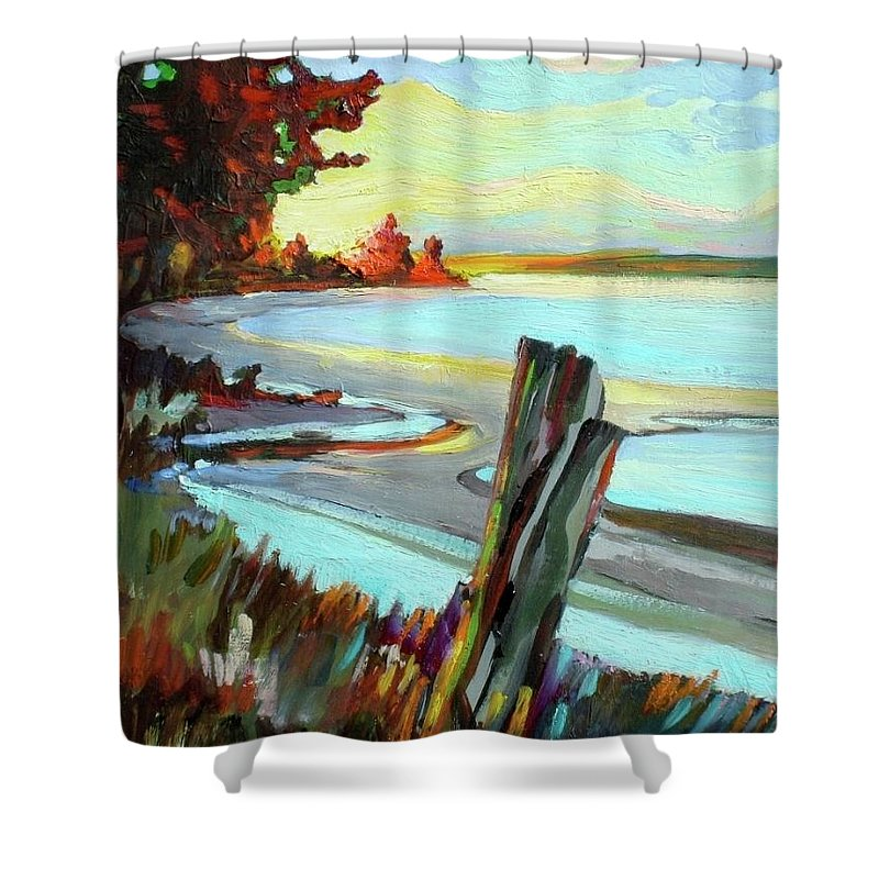 Sketch Coast Coastal Sea Ocean Meadow Stumps Sky Sunset Trees Landscape Outdoors Shower Curtain featuring the painting Blackie Spit Meets Mud Bay by Catherine Robertson