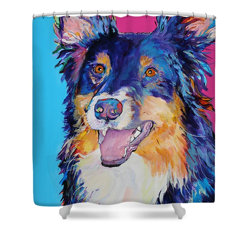 Dog Shower Curtain featuring the painting Blackjack by Pat Saunders-White