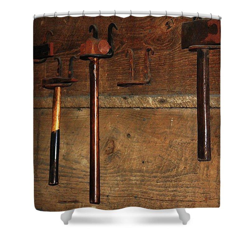 Blacksmith Photographs Shower Curtain featuring the photograph Blacksmith Tools by Kim Henderson