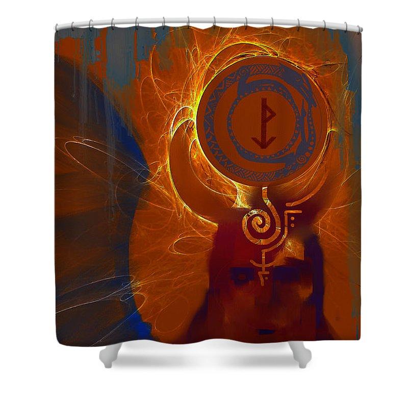 Spiritual Shower Curtain featuring the digital art Blazzing Wisdom Through Odins Essence by Stephen Lucas