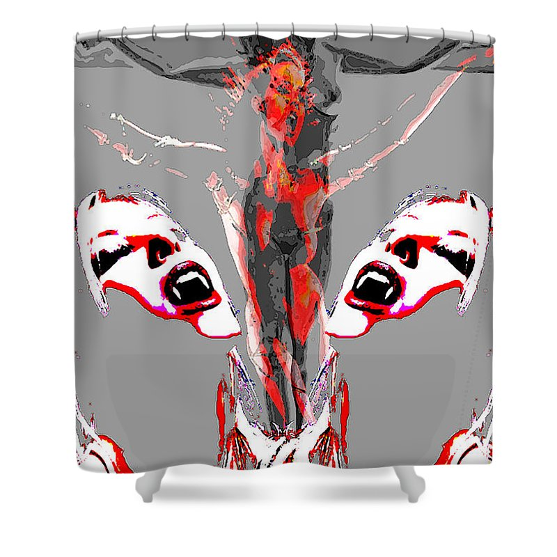 Crucifix Shower Curtain featuring the painting Bled For Life by Thomas Oliver