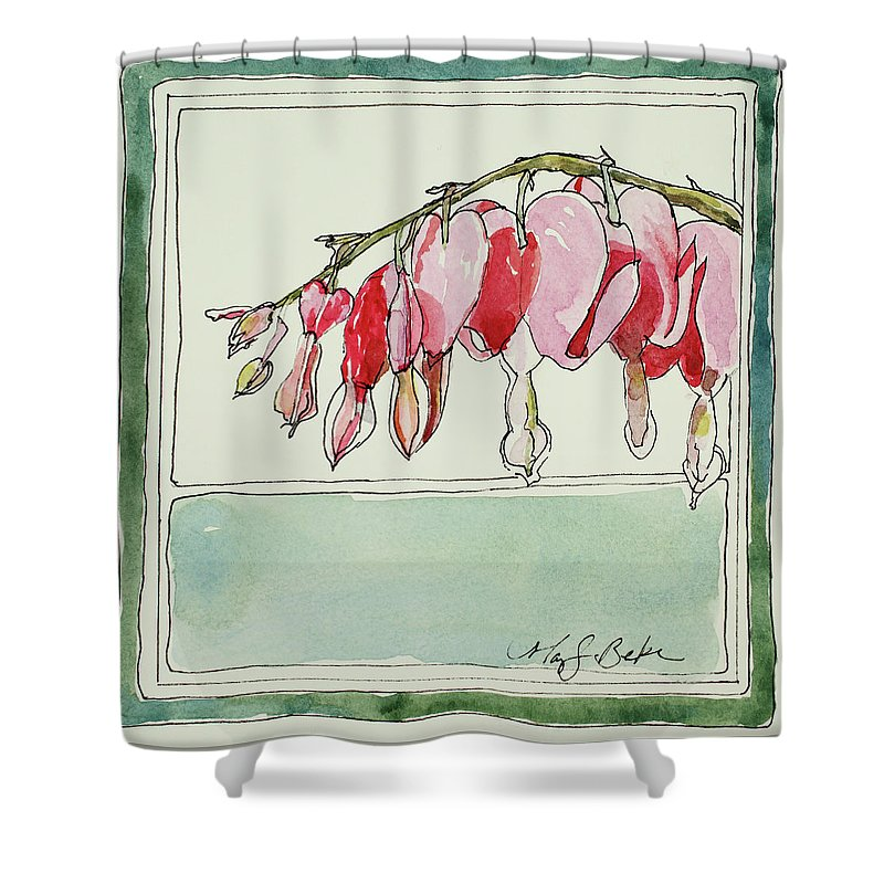 Watercolor Shower Curtain featuring the painting Bleeding Hearts II by Mary Benke