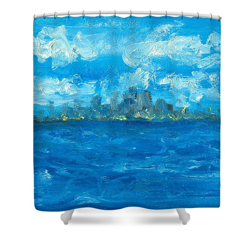 Seascape Shower Curtain featuring the painting Bleueseas by Jorge Delara