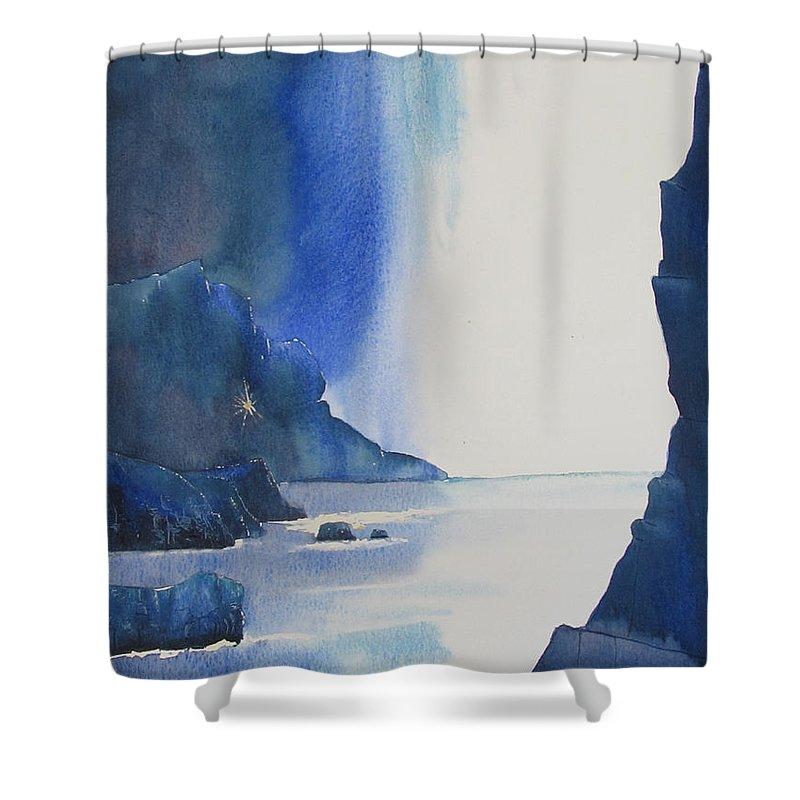 Glenn Marshall Yorkshire Artist Shower Curtain featuring the painting Blizzard Of Blue by Glenn Marshall