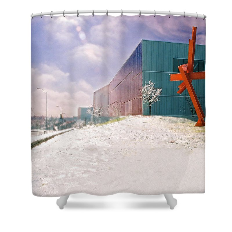 Landscape Shower Curtain featuring the photograph Bloch Building At The Nelson Atkins Museum by Steve Karol