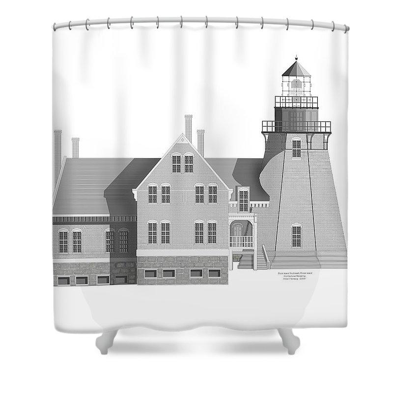 Block Island Rhode Island Shower Curtain featuring the painting Block Island South East Rhode Island by Anne Norskog