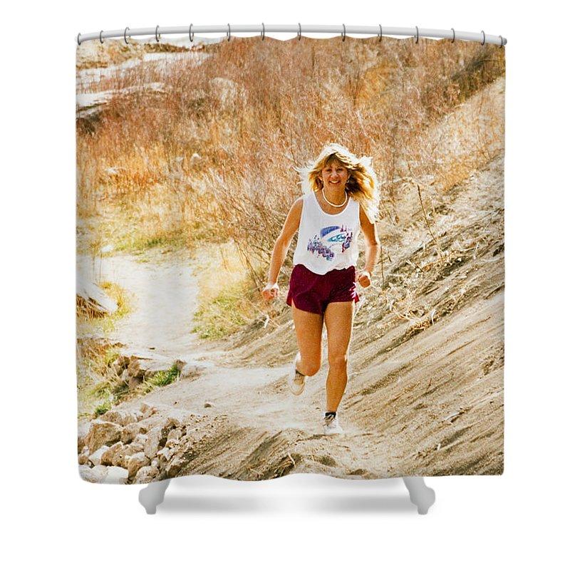 Runner Shower Curtain featuring the photograph Blond Woman Trail Runner by Steve Krull