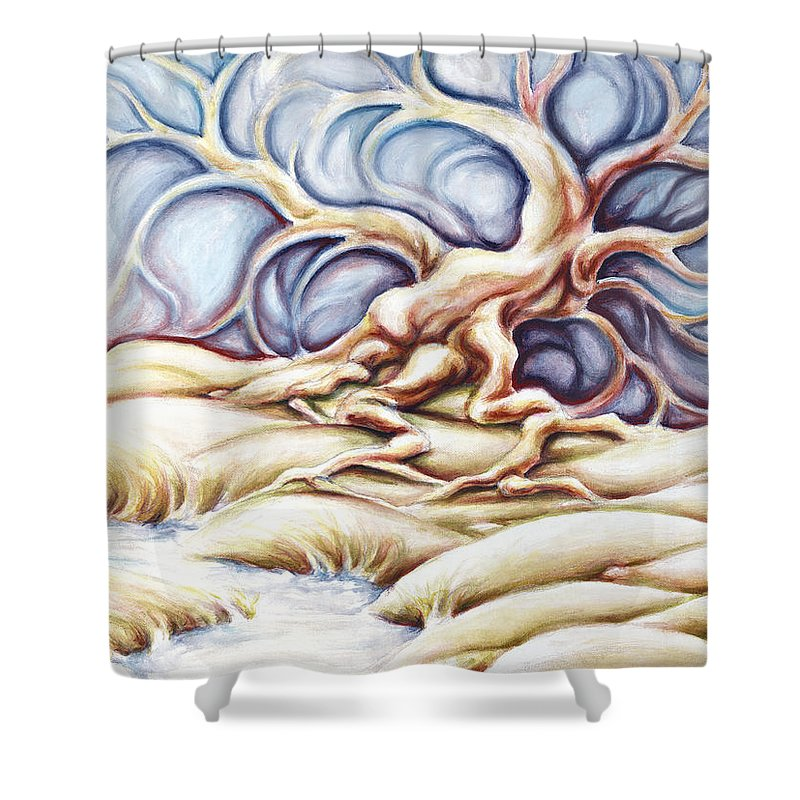 Acrylic Painting Shower Curtain featuring the painting Blonde And Blue by Jennifer McDuffie
